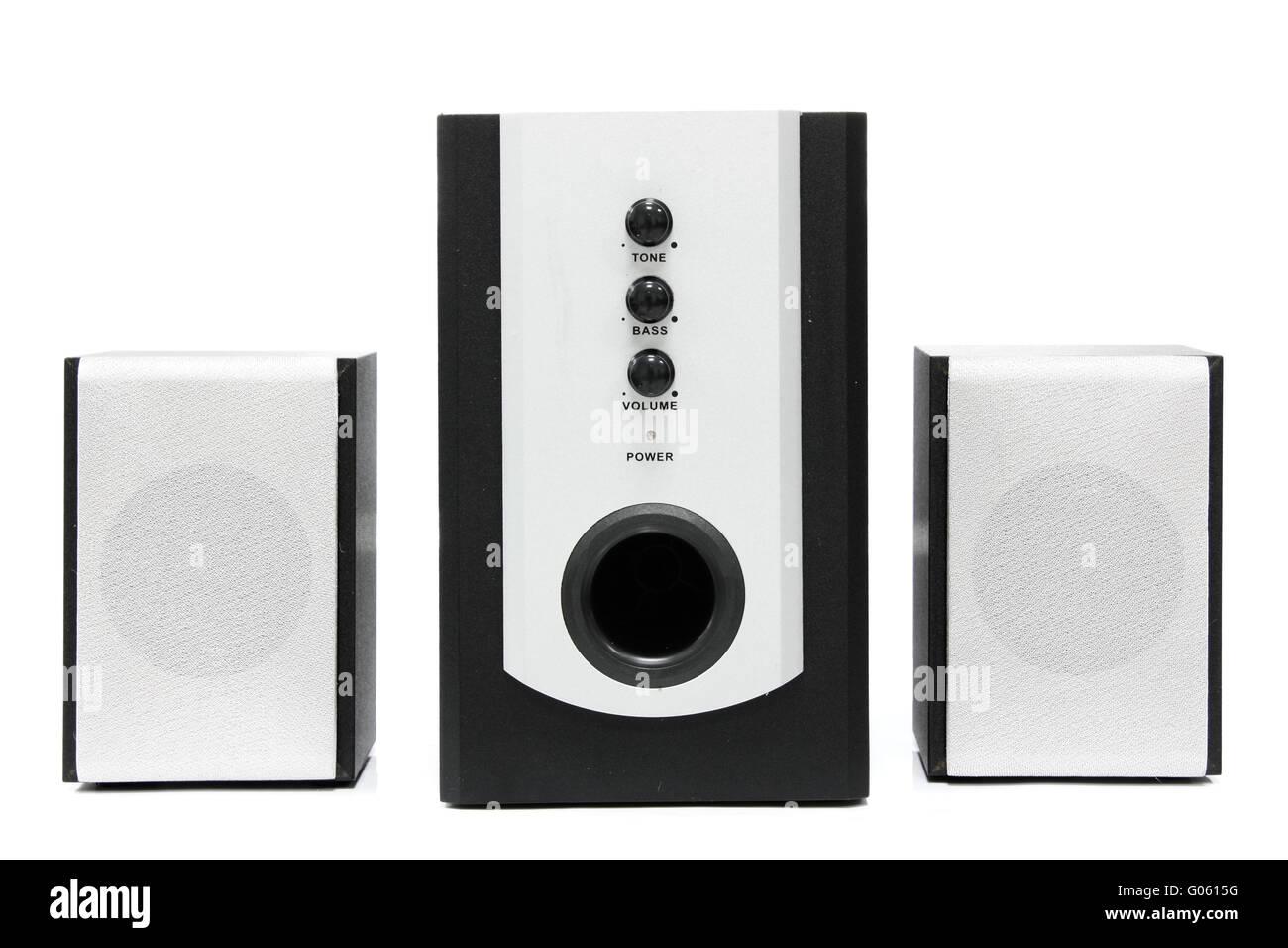 Computer multimedia speaker set isolated on white - Stock Image