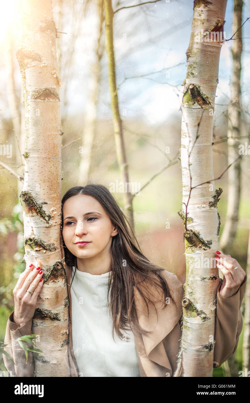 young pretty woman holding birch trees - Stock Image