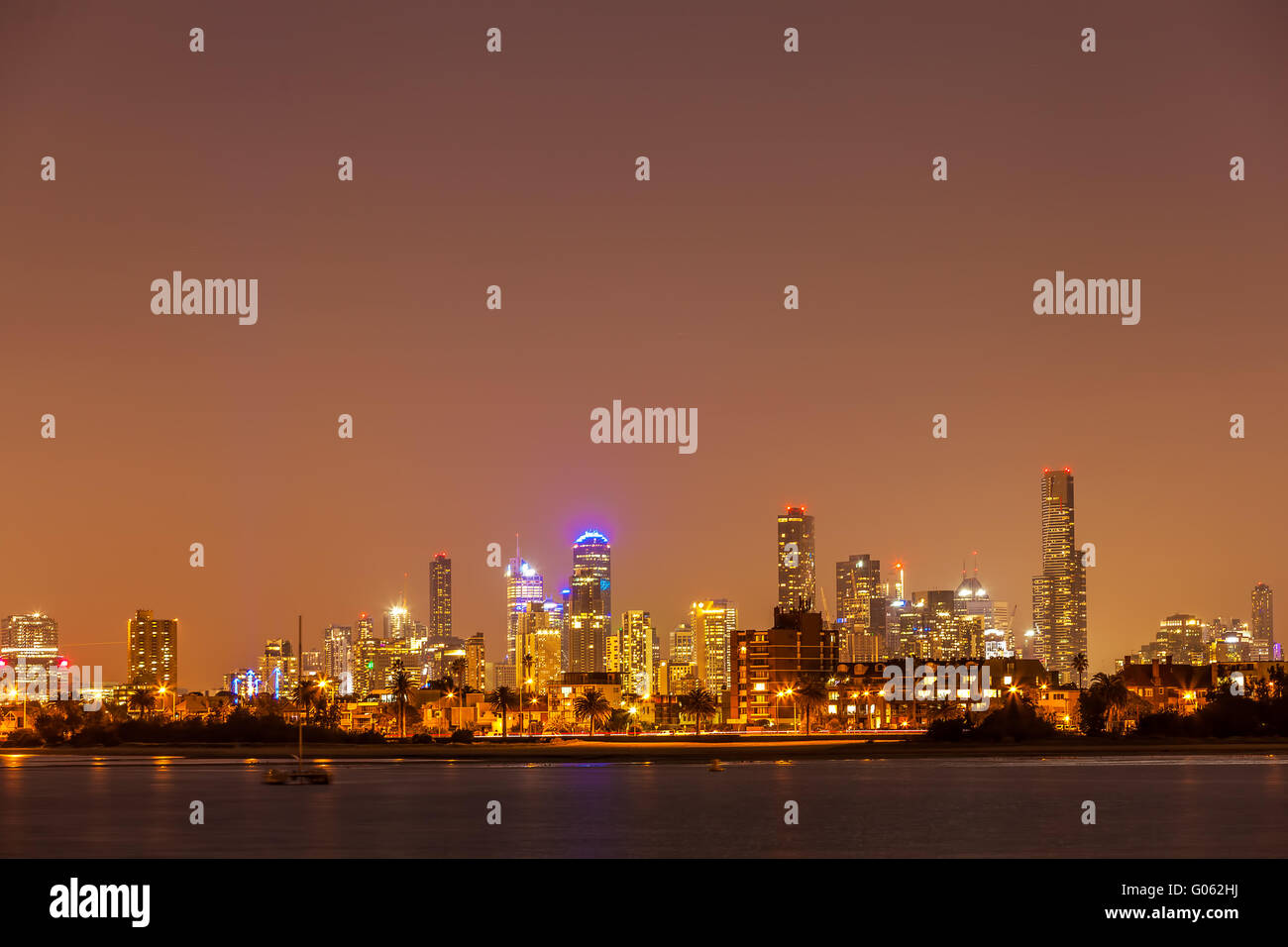 Nightscape of Melbourne CBD skyline - Stock Image