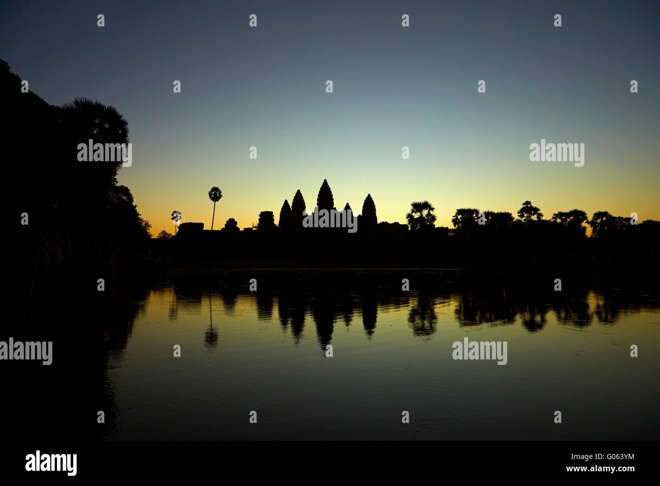 Sunrise over Angkor Wat, Angkor World Heritage Site, Siem Reap, Cambodia - Stock Image