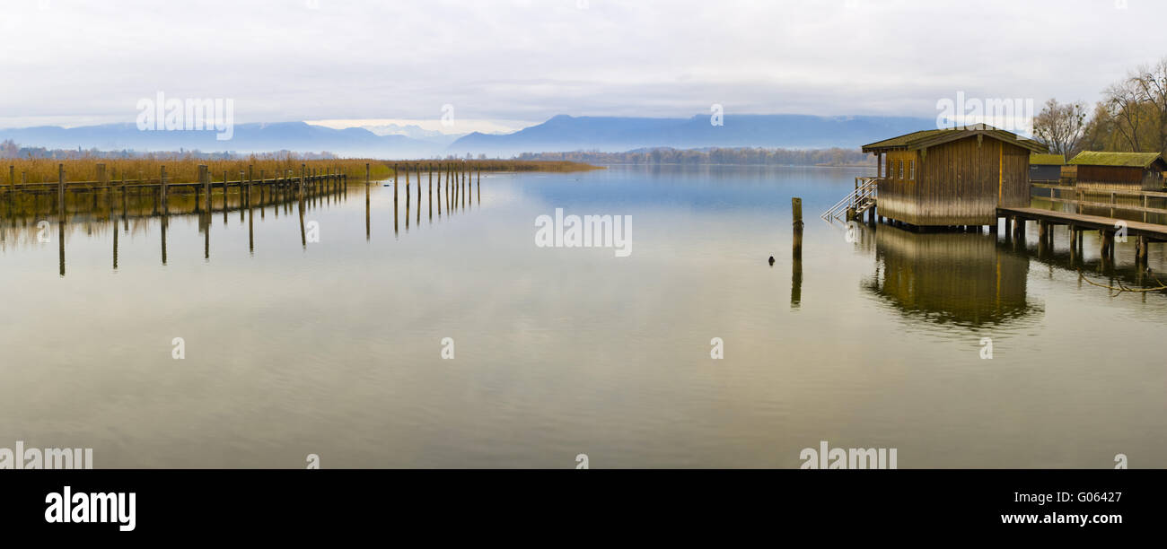 View over Chiemsee to the Alpen , Bavaria - Stock Image
