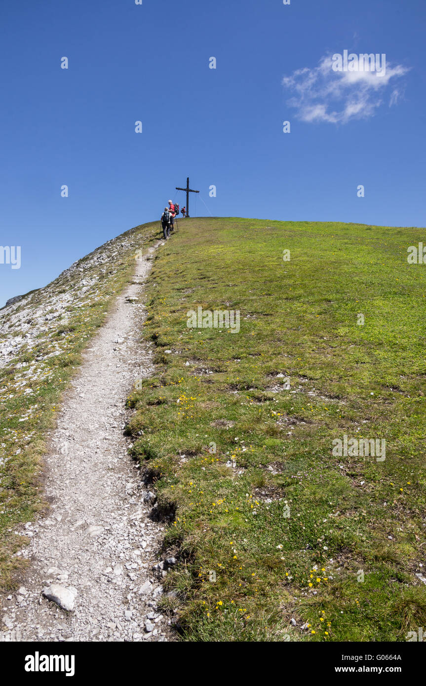 Mountin trail to the summit of the Nockspitze - Stock Image