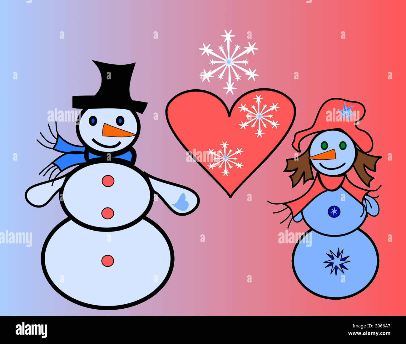 Falling in love snow men with a heart and snowflak - Stock Image
