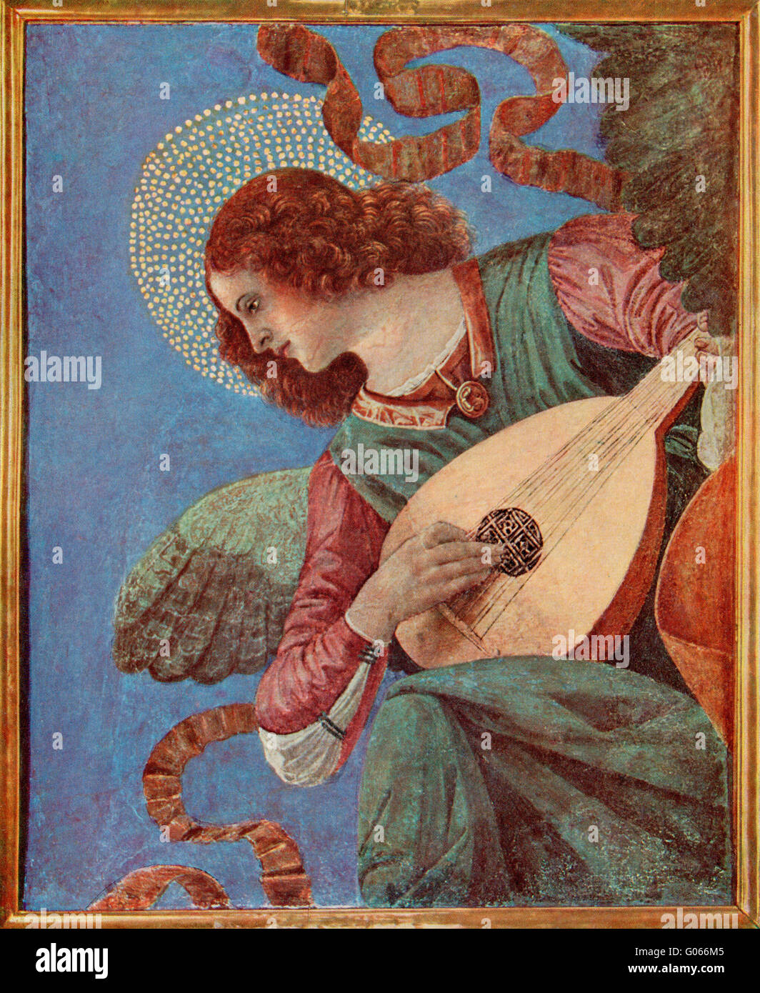 Musician Angel, after the fresco paintings of the Basilica dei Santi Apostoli, Pinacoteca of the Vatican Museums, - Stock Image