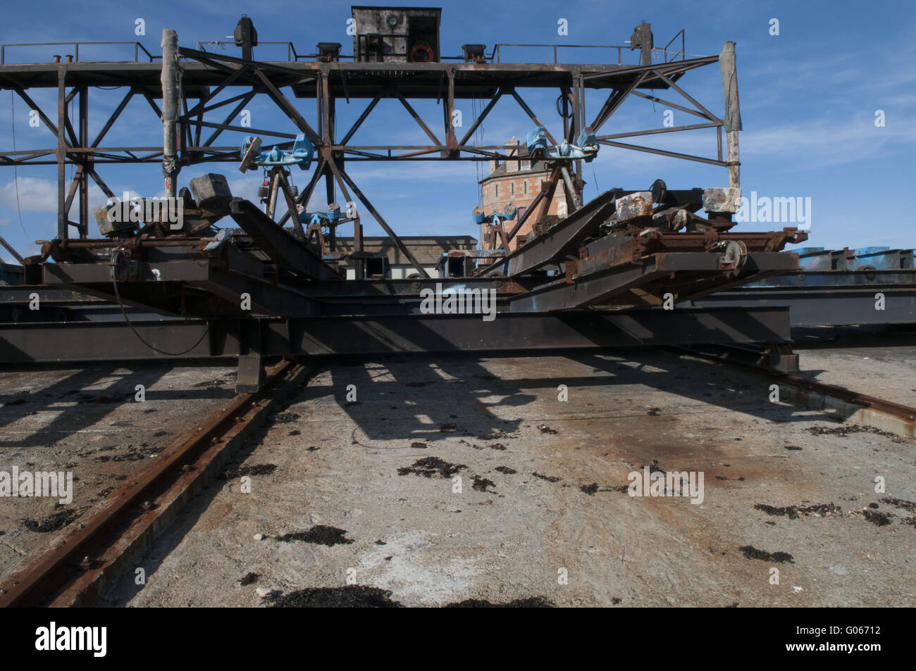 Historical shipyard in the Harboer of Camaret-sur- - Stock Image