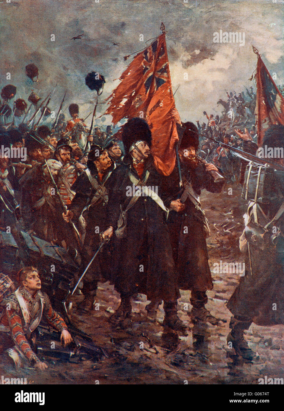 Saving the colours; the guards at the Battle of Inkerman, 1854. - Stock Image