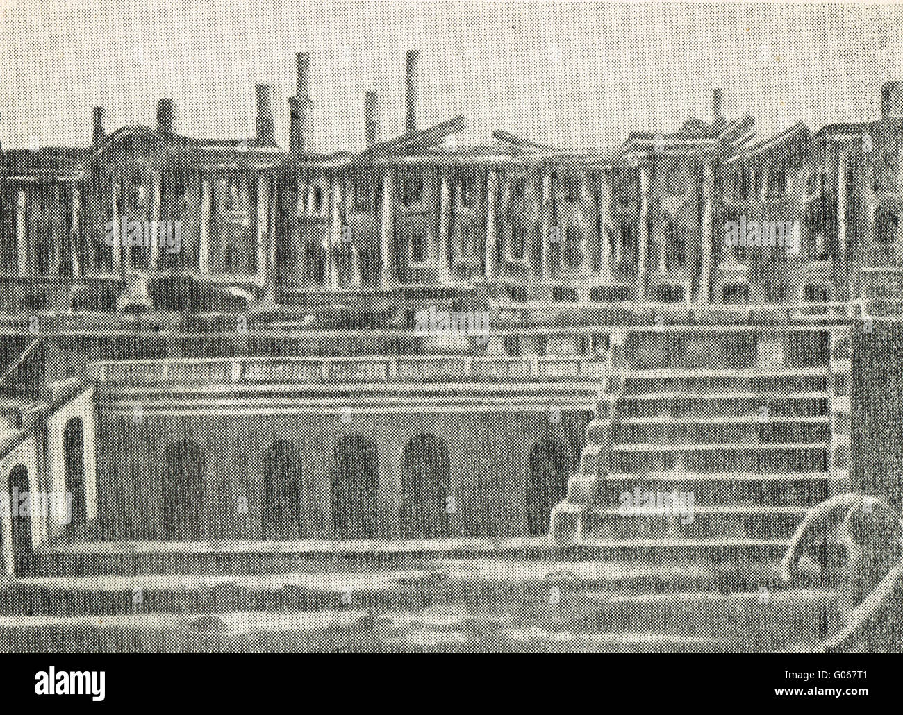 The remains of Peterhof Palace after the Siege of Leningrad 1944 - Stock Image