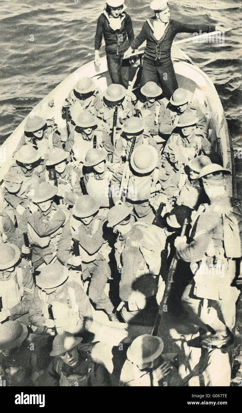 Royal Marines Landing party at sea WW2 - Stock Image