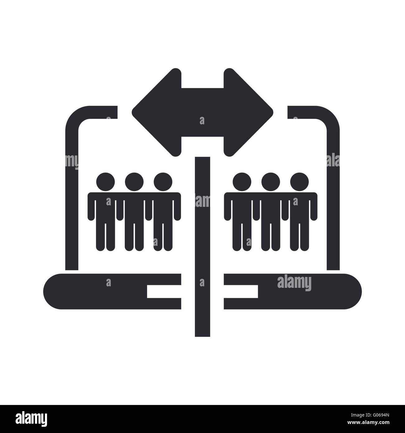 Vector illustration of isolated pc sharing icon - Stock Image