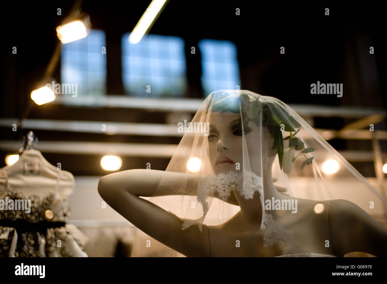 Mannequin wearing wedding dress exposed in a stand during the Stock ...
