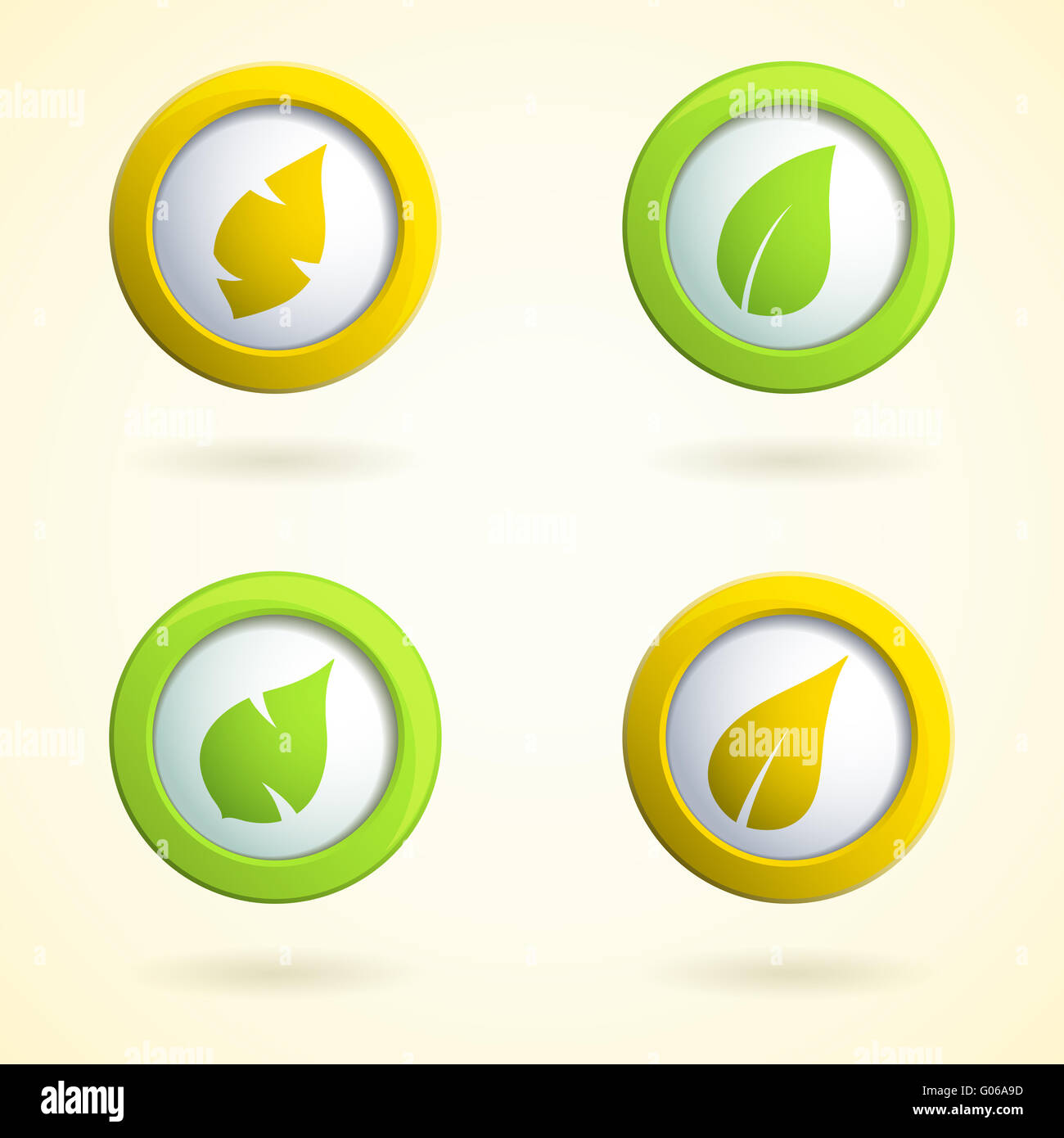 Icons with leaves - Stock Image