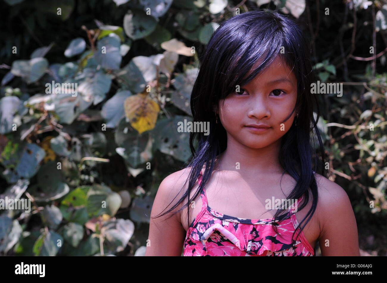 Bunong hilltribe girl in jungle, Mondulkiri Province, Cambodia. credit: Kraig Lieb Stock Photo