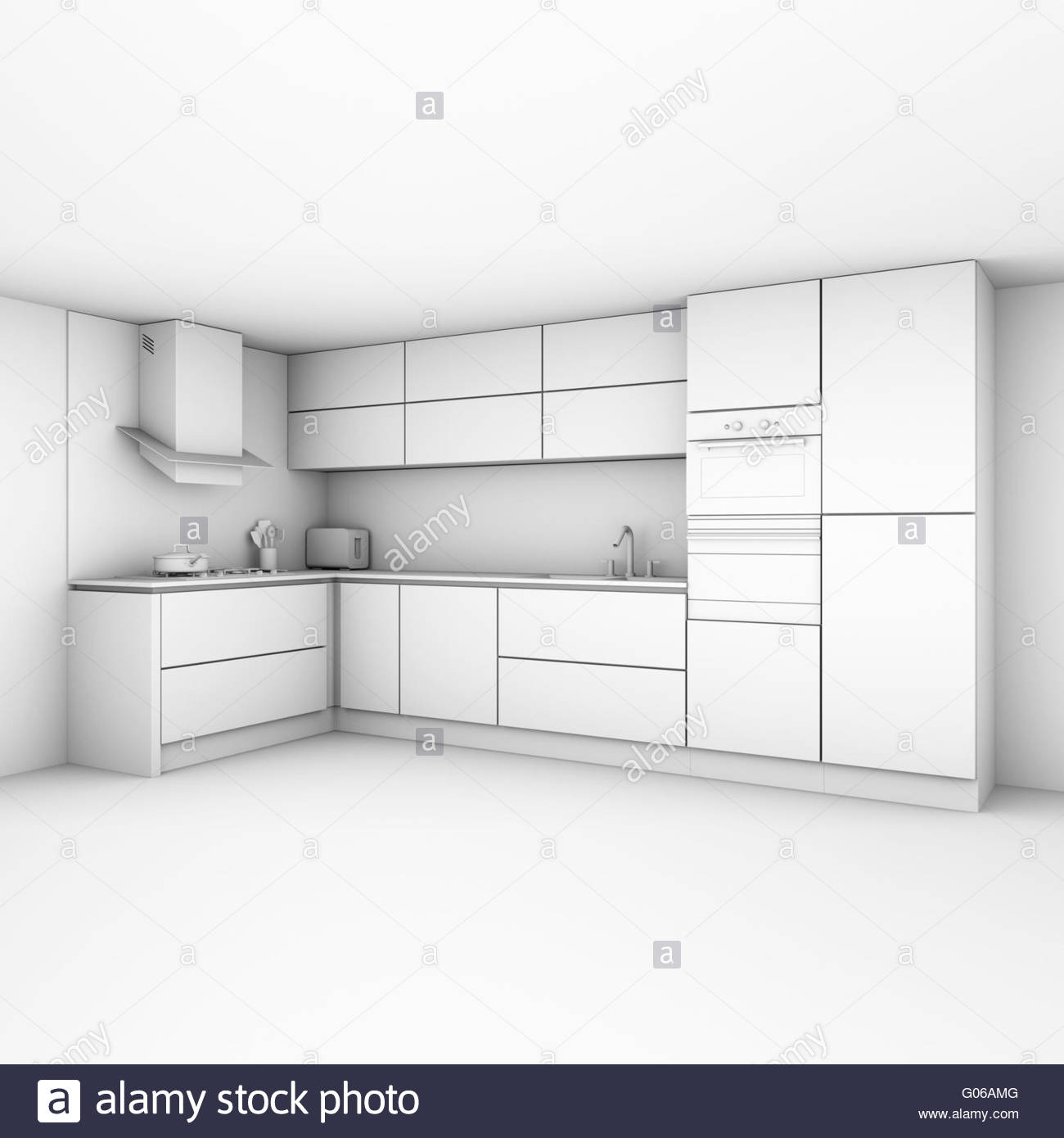 Modern kitchen cabinets in new white interior - Stock Image