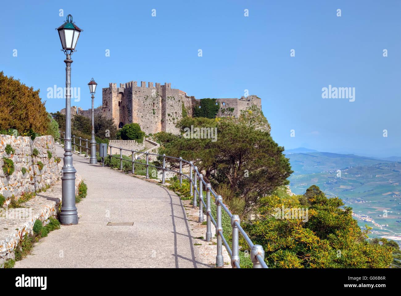 Erice, castle, Trapani, Sicily, Italy - Stock Image