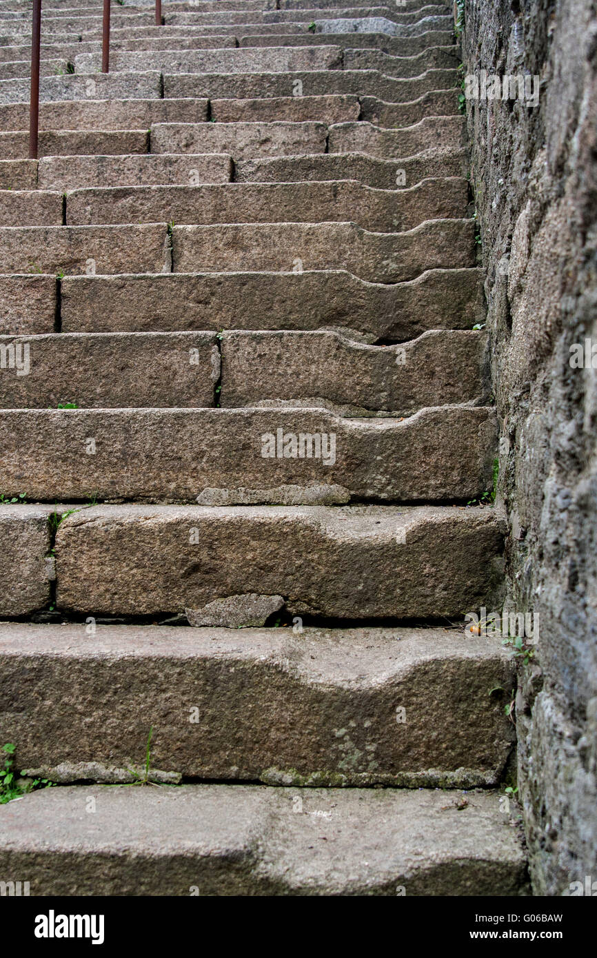 Steps of a stone staircase in Morlaix, France Stock Photo