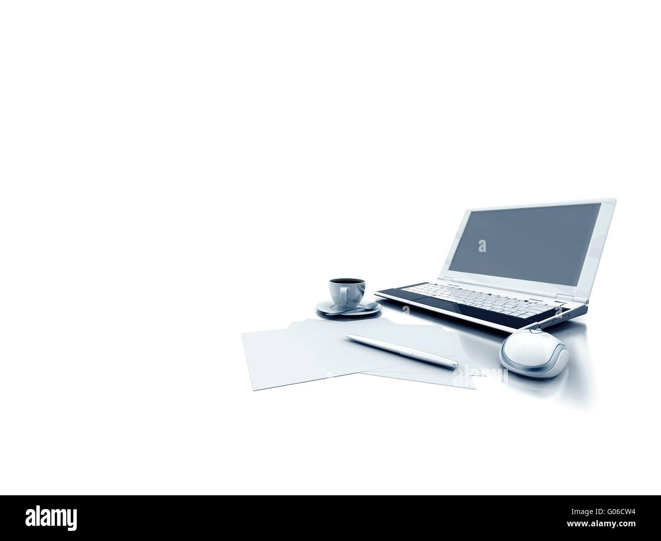 laptop document and coffe on white background - Stock Image