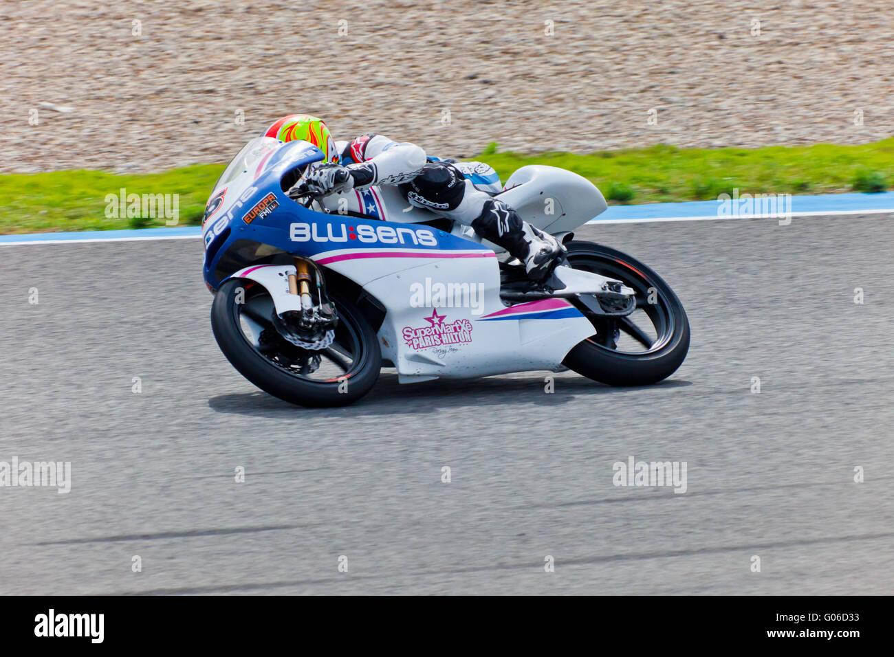 Maverick Viñales pilot of 125cc  of the MotoGP - Stock Image