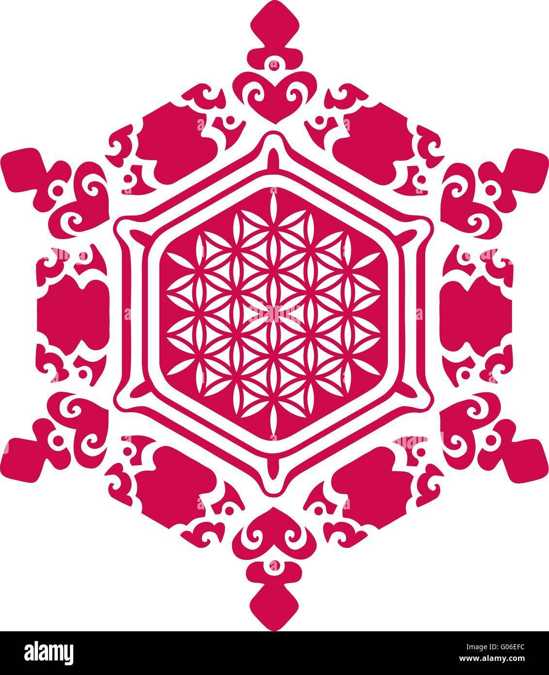 Water Crystal Love - Flower of Life - Stock Image