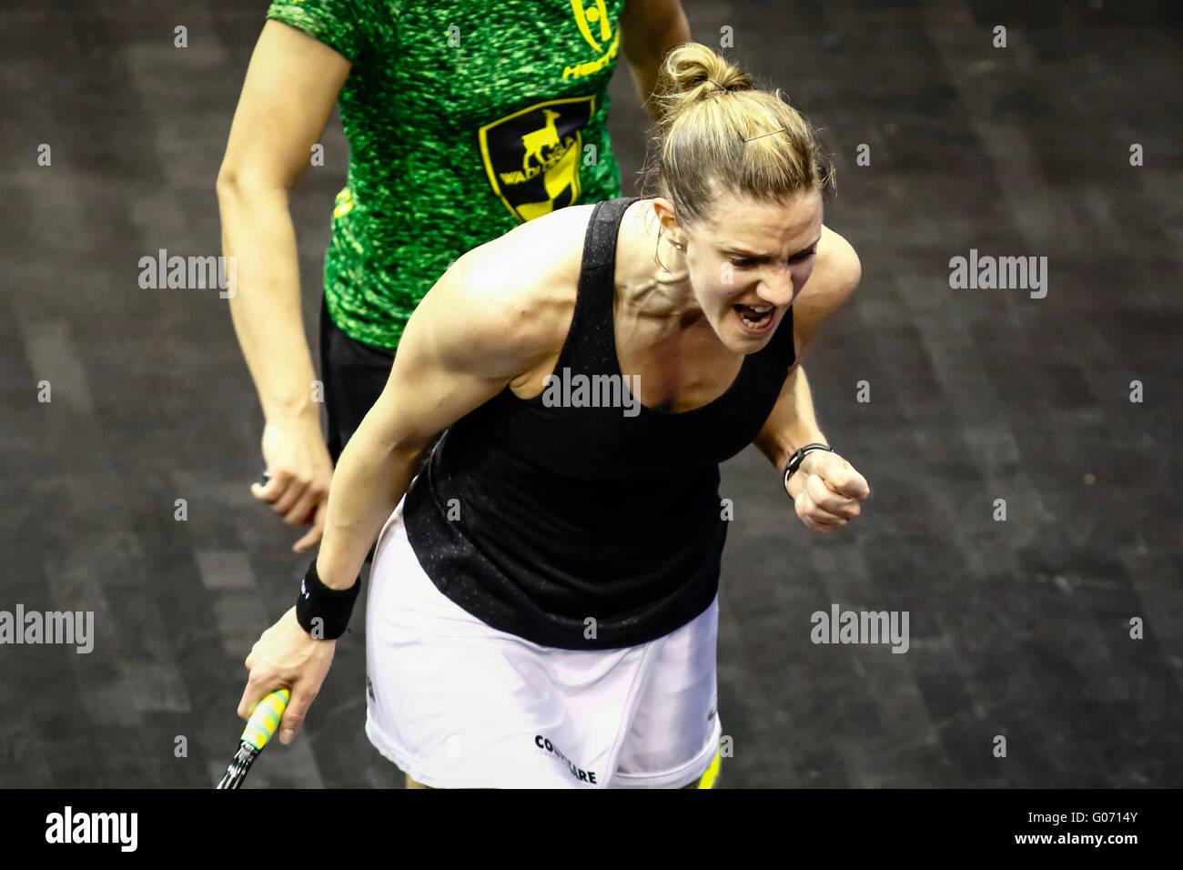 Kuala Lumpur, Malaysia. 29th Apr, 2016. British's Laura Massaro roars into the finals at the Women's World - Stock Image
