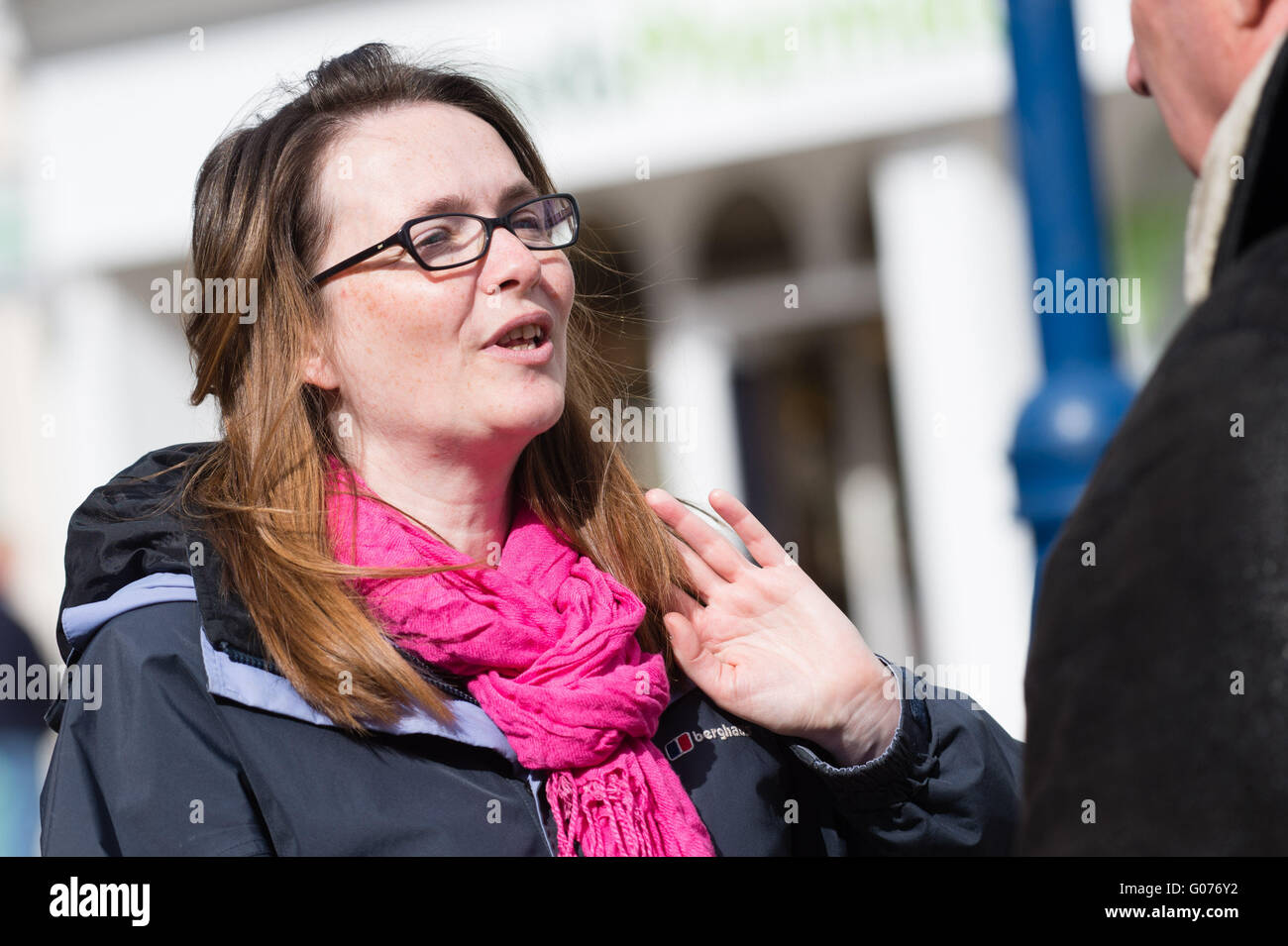 Aberystwyth Wales UK, Saturday 30 April 2016  Welsh politics: Leader of the Welsh Liberal Democrats party, Kirsty - Stock Image