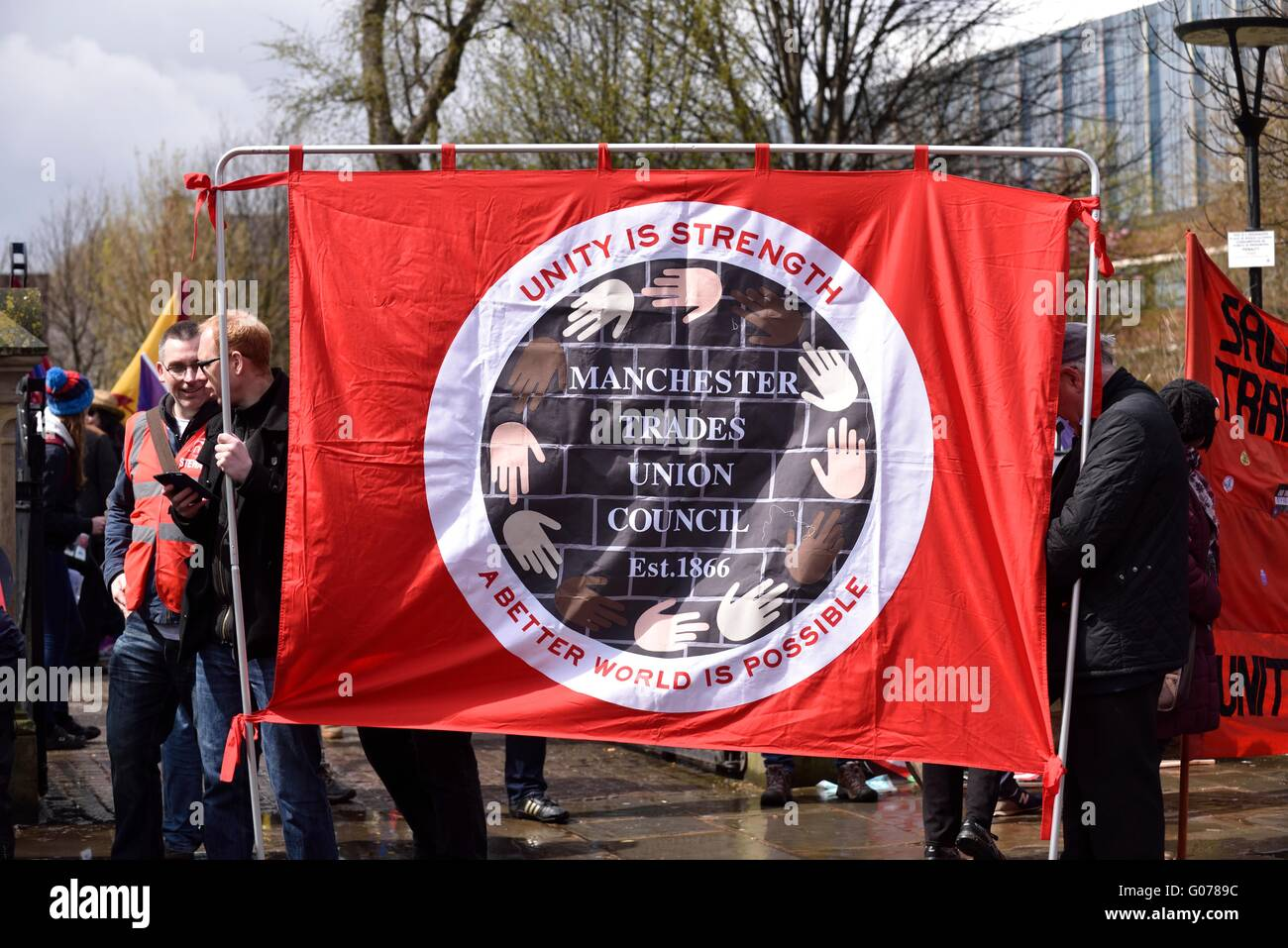 Manchester, UK. 30th April, 2016. Hundreds of trade unionists, activists and campaigners meet in All Saints Park - Stock Image