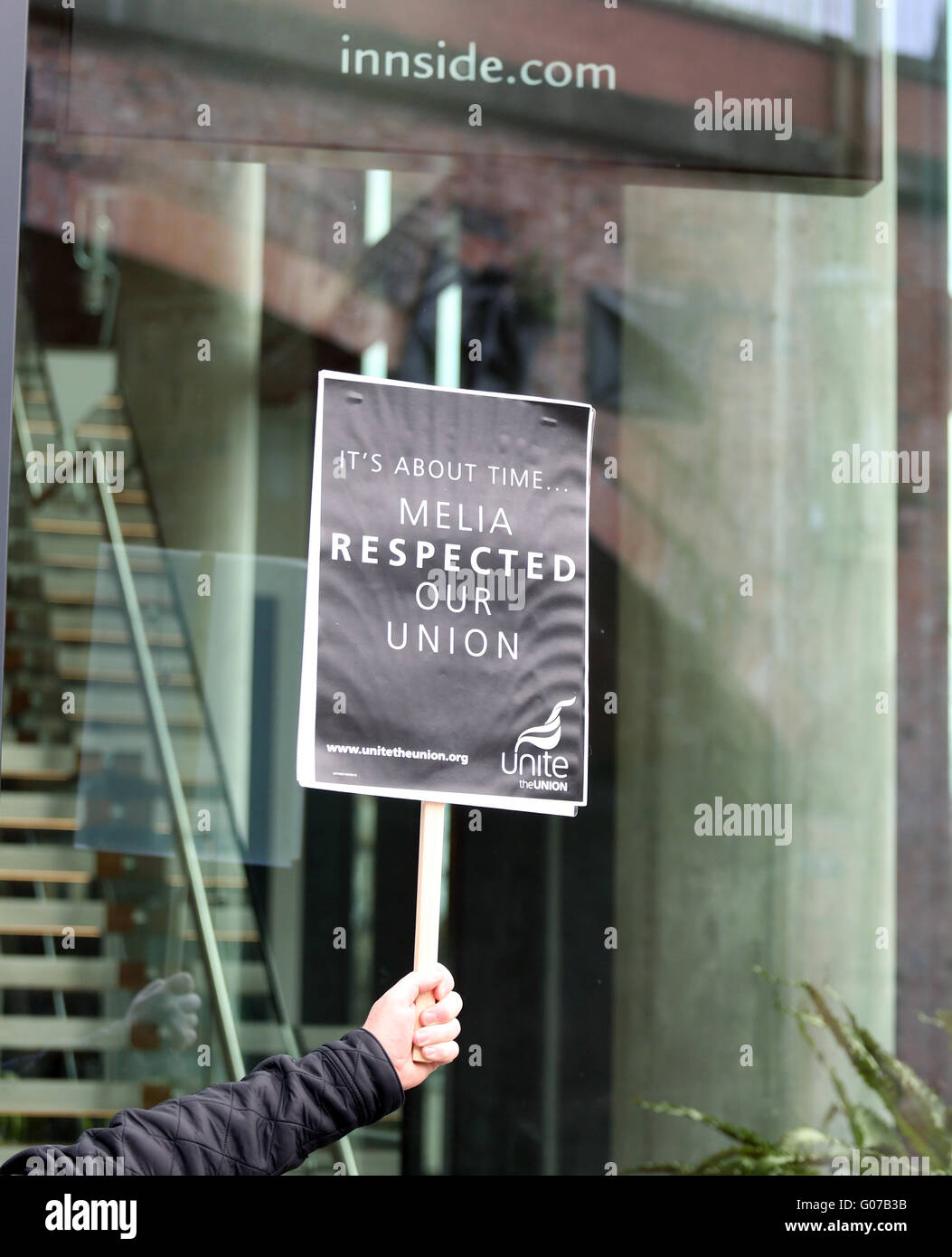 Manchester, UK. 30th April, 2016. A placard which reads 'it's about time Melia respected our union' - Stock Image