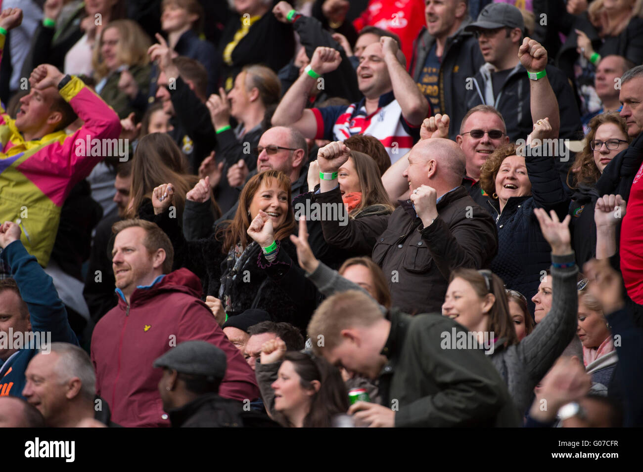 Twickenham Stadium, UK. 30th April 2016. Capacity crowd of 80,000 at a sell-out match watch the British Army take - Stock Image