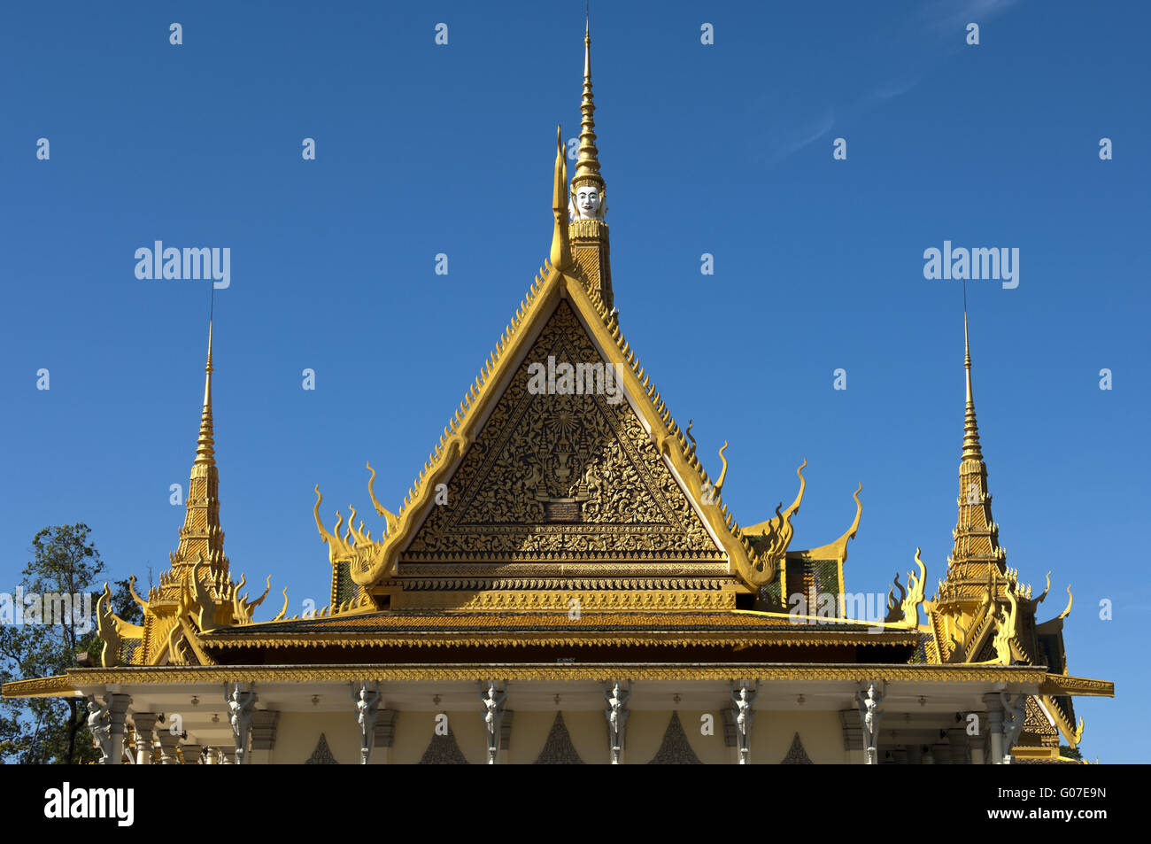 Gable of the Throne Hall,  Royal Palace, hnom Penh Stock Photo