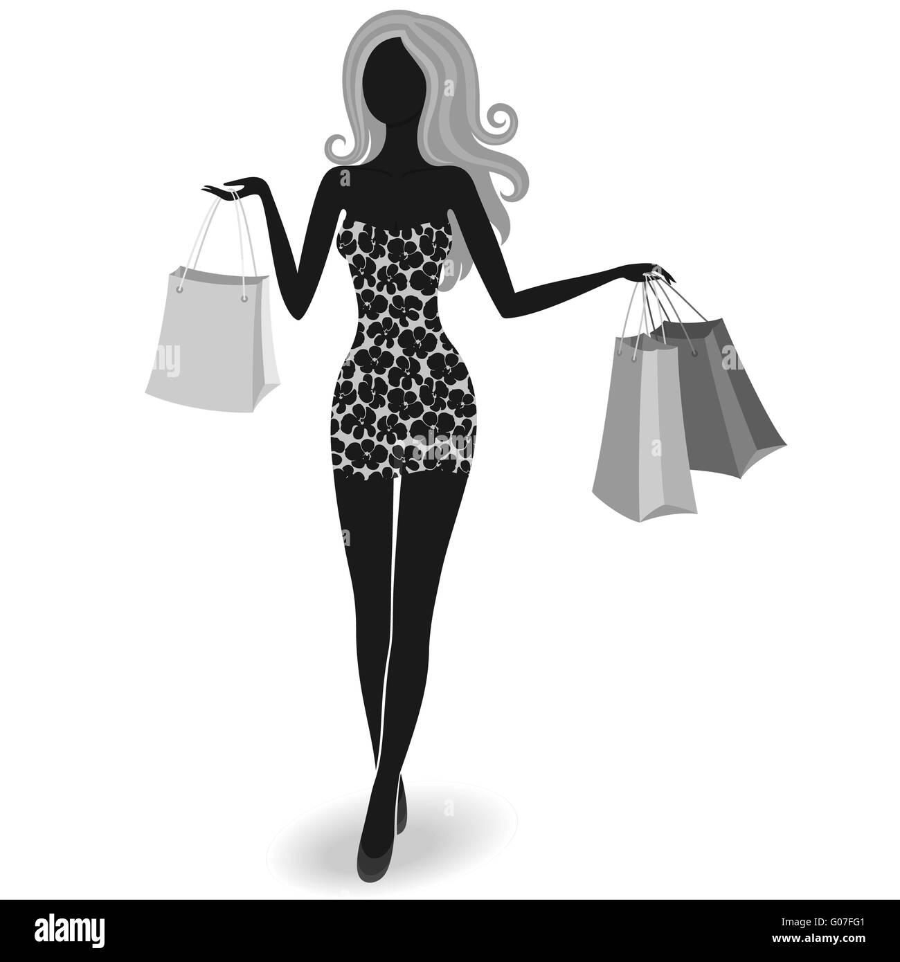 Silhouette of a shopping girl - Stock Image