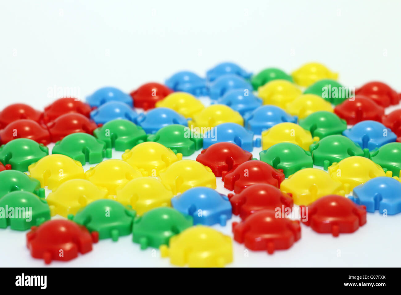 TThe details of the childrens multi-colored mosaic - Stock Image