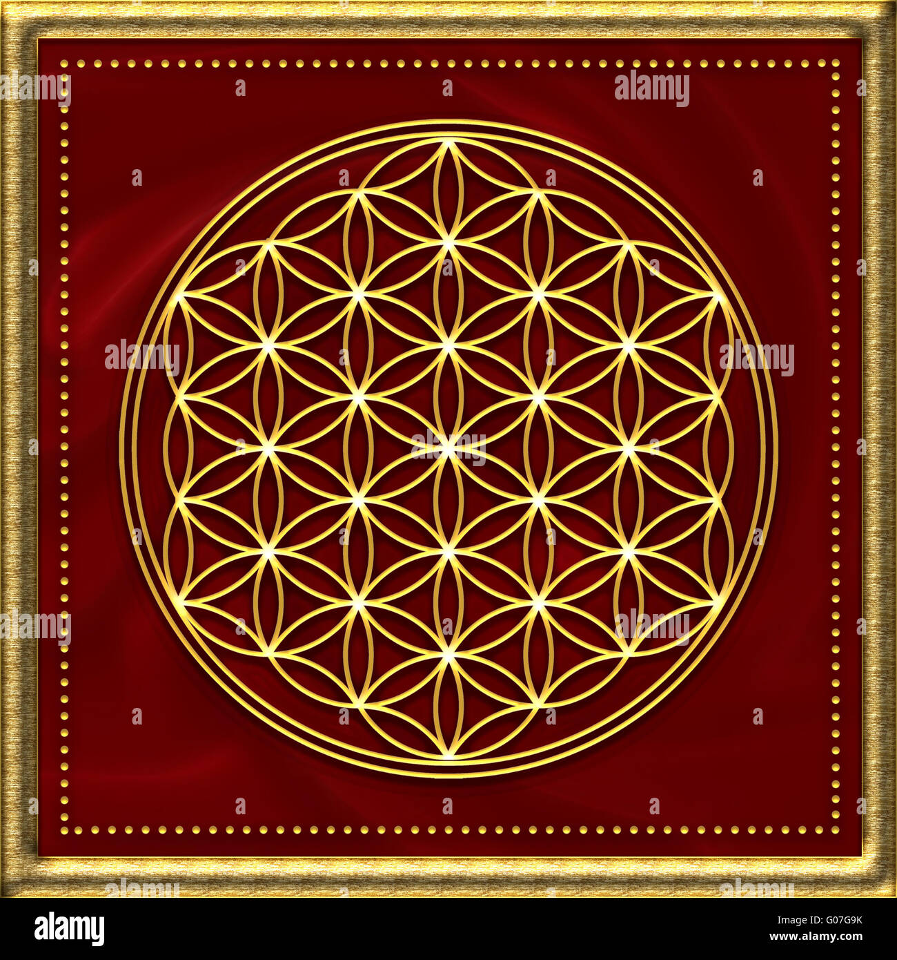 Flower of life - sacred geometry - golden - Stock Image