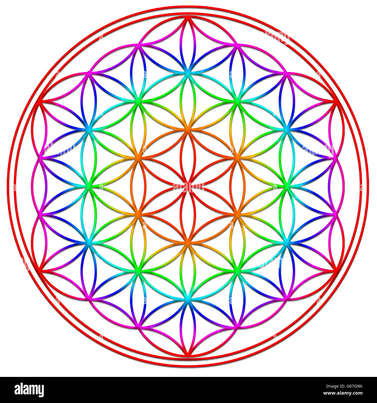 flower of life - rainbow - Stock Image