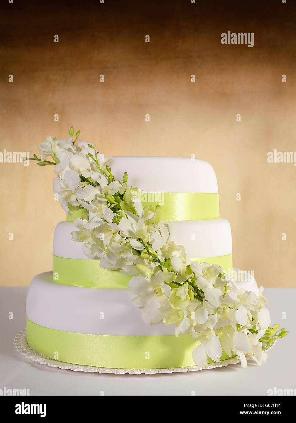 Traditional Wedding Cake On A Color Background Stock Photo