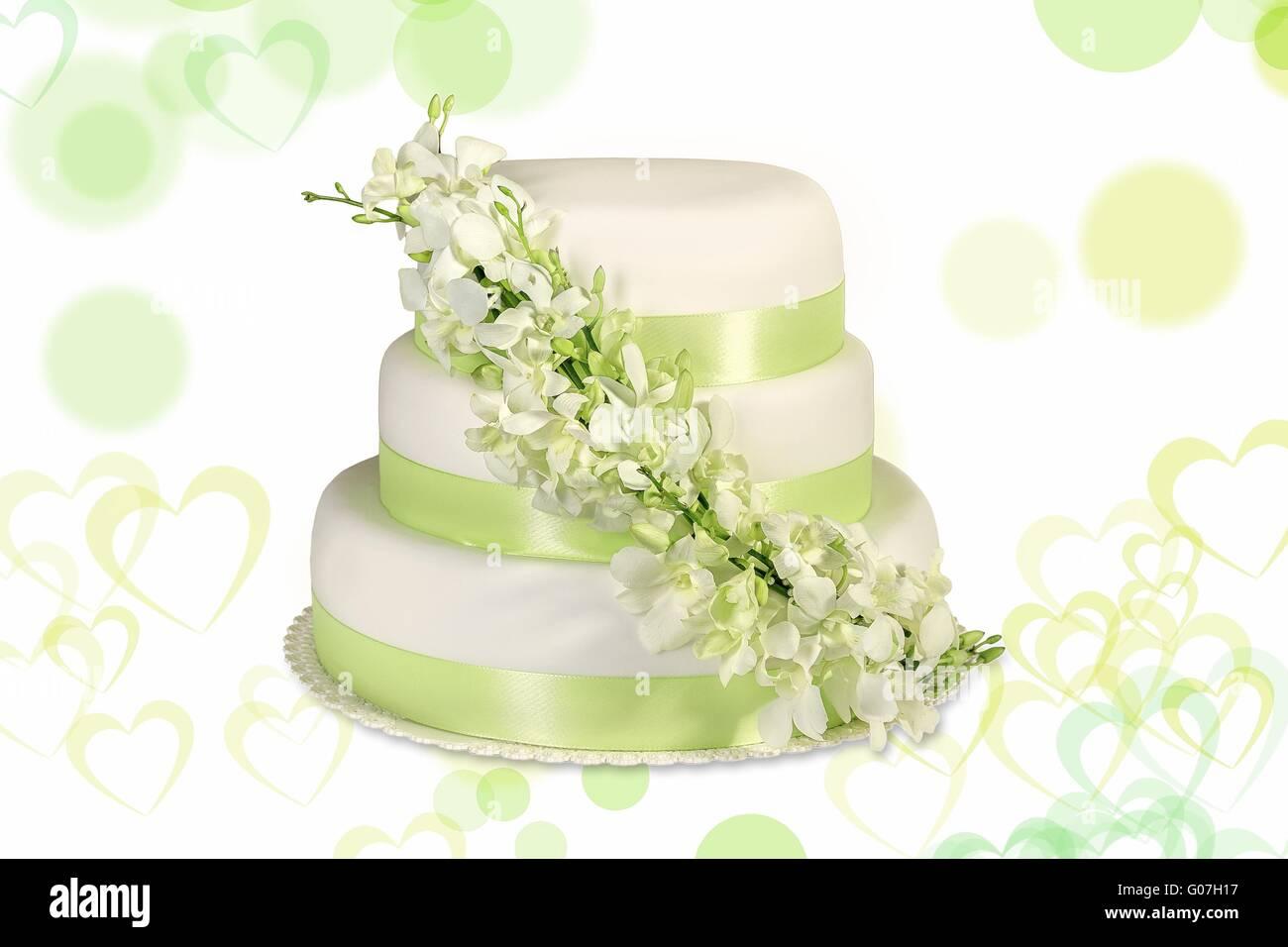 Traditional wedding cake on a white background Stock Photo ...
