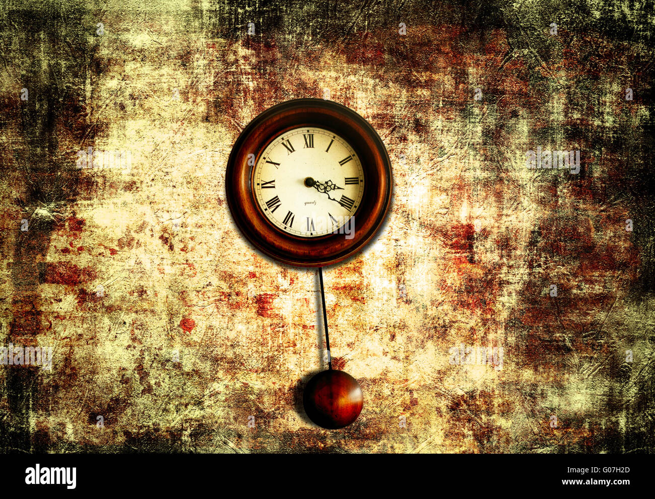 clock with pendulum hanging on a red old wall - Stock Image