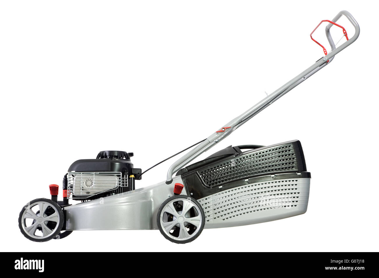 Silver lawn mower. - Stock Image