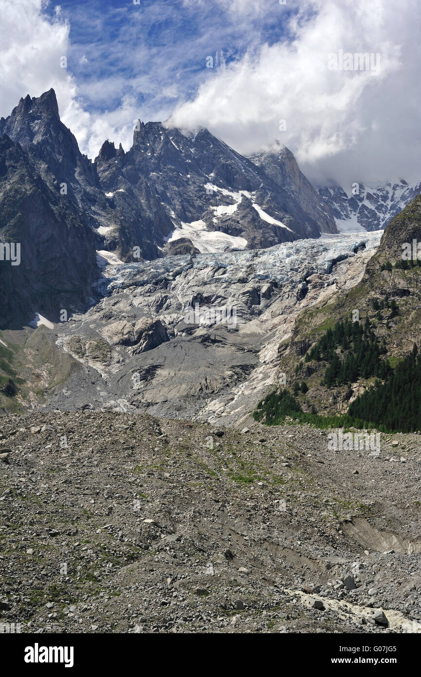 Retreating glacier in July 2009 in the Mount Blanc massif seen from the Val Veny valley showing moraine and polished - Stock Image