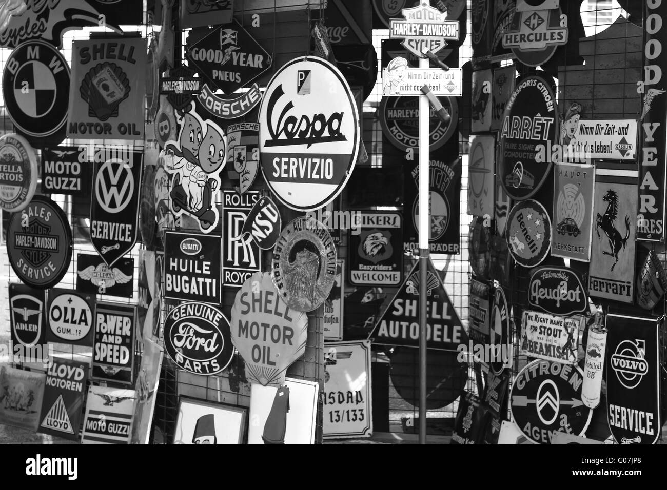 vintage signs bw Stock Photo