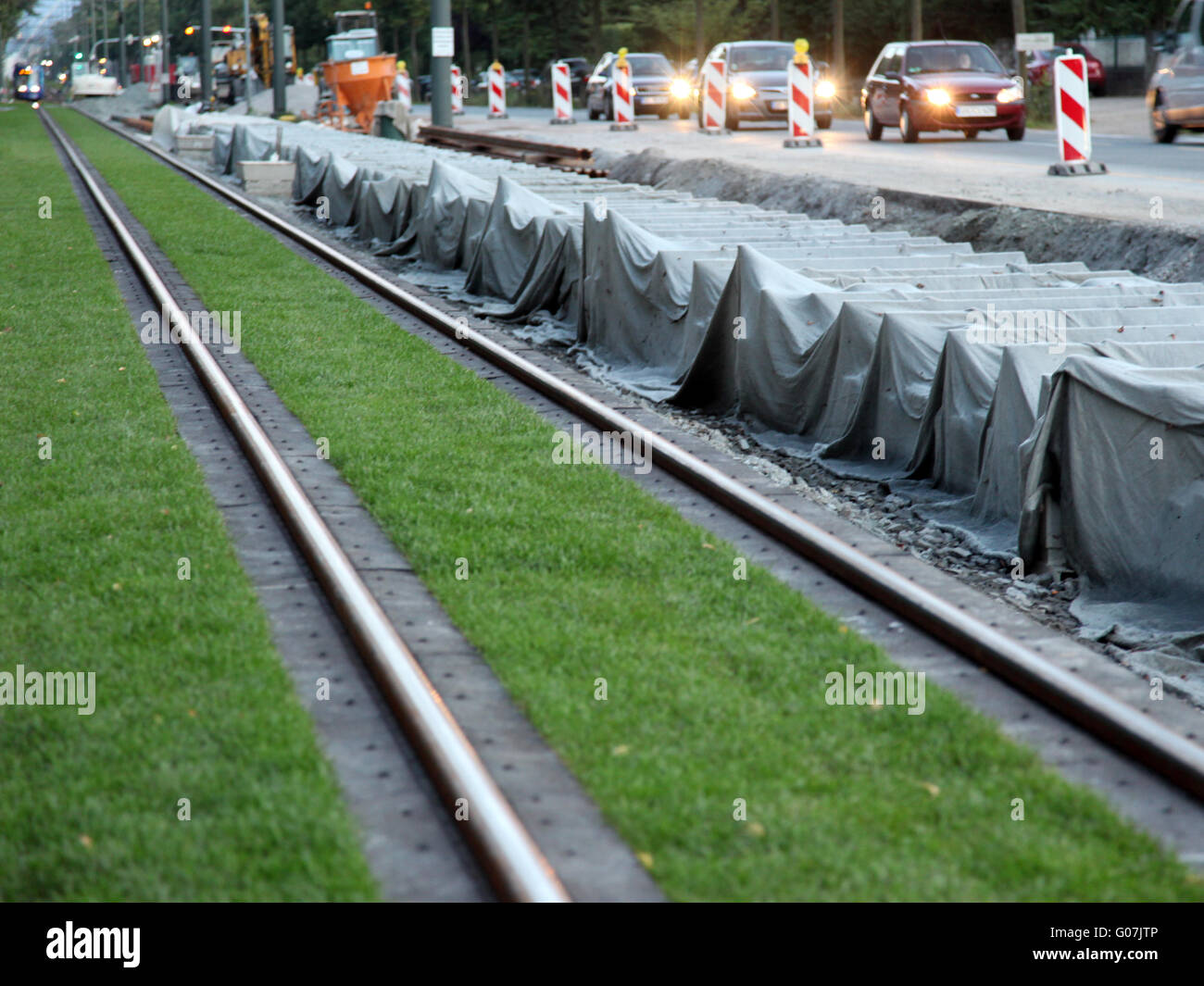 Construction site of rail on grass in Darmstadt Stock Photo