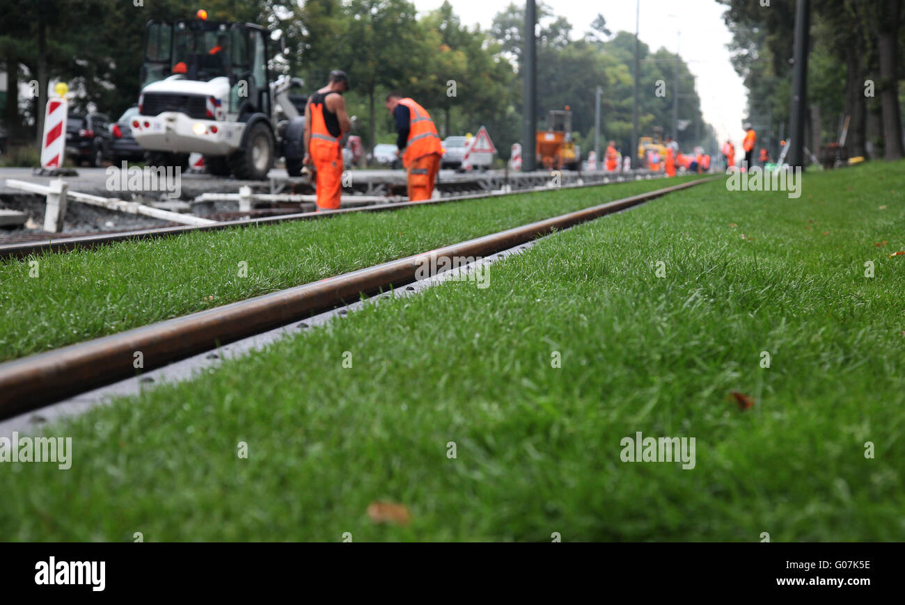 building site streetcar system - Stock Image
