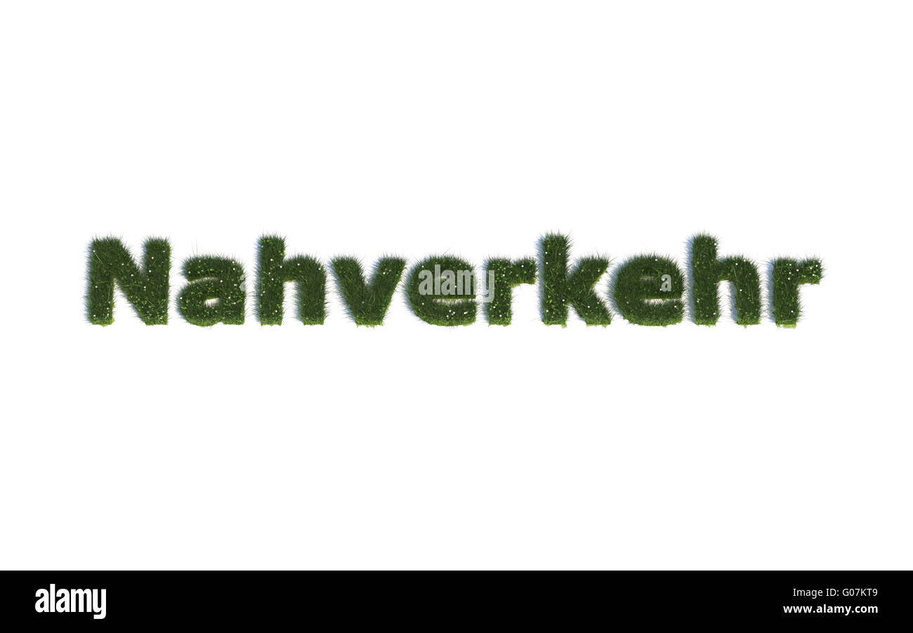 Short-Distance-Traffic: Series Fonts out of realistic grass Language G (Nahverkehr) Stock Photo