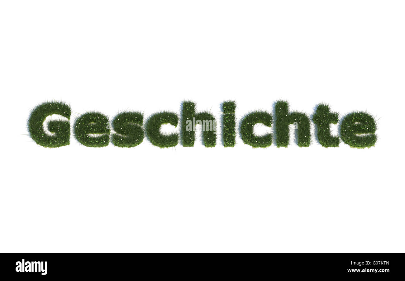 History: Series Fonts out of realistic grass Language G (Geschichte) - Stock Image