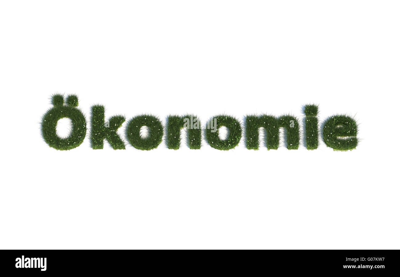 Economy: Series Fonts out of realistic grass Language G (Ökonomie) - Stock Image