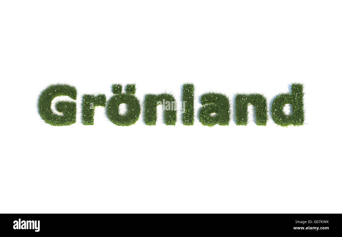 Greenland: Series Fonts out of realistic grass Language G (Grönland) - Stock Image