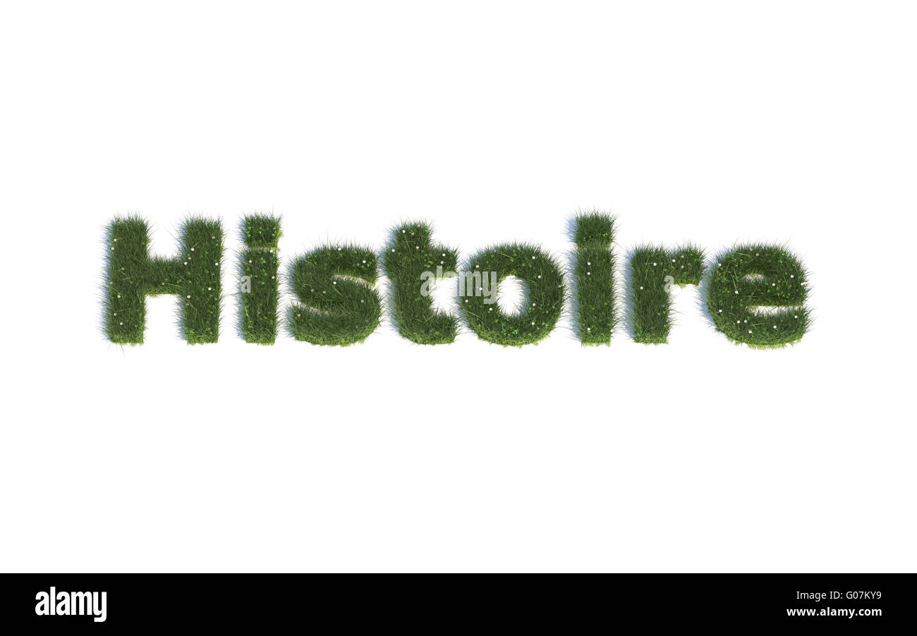 History: Series Fonts out of realistic grass Language FR (Histoire) - Stock Image