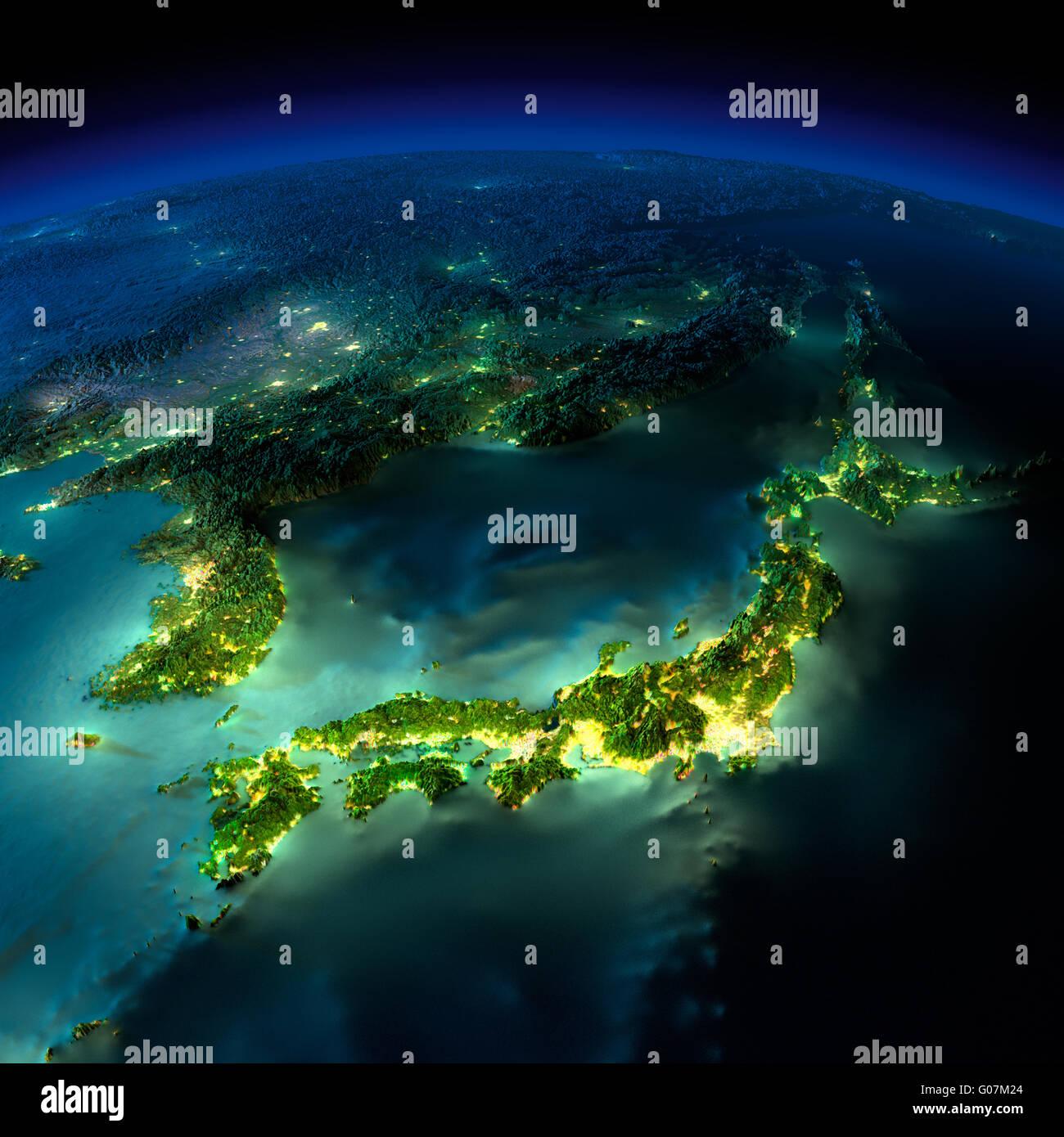 Night Earth. A piece of Asia - Japan, Korea, China - Stock Image