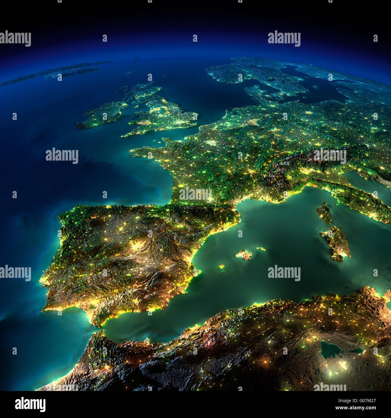 Night Earth. A piece of Europe - Spain, Portugal, France - Stock Image