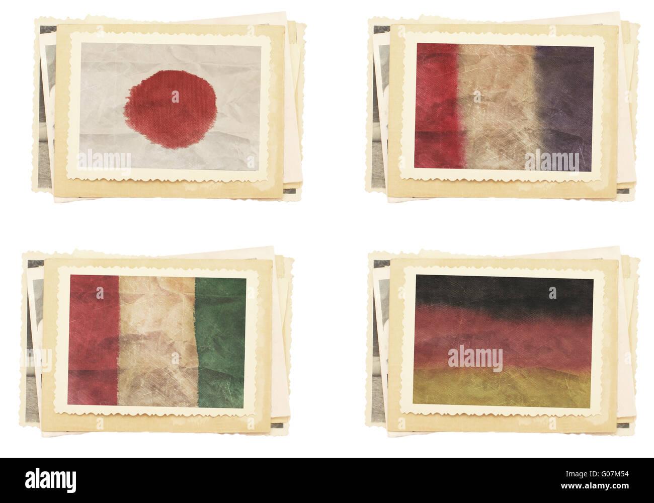 Vintage photos collection vintage flag Stock Photo