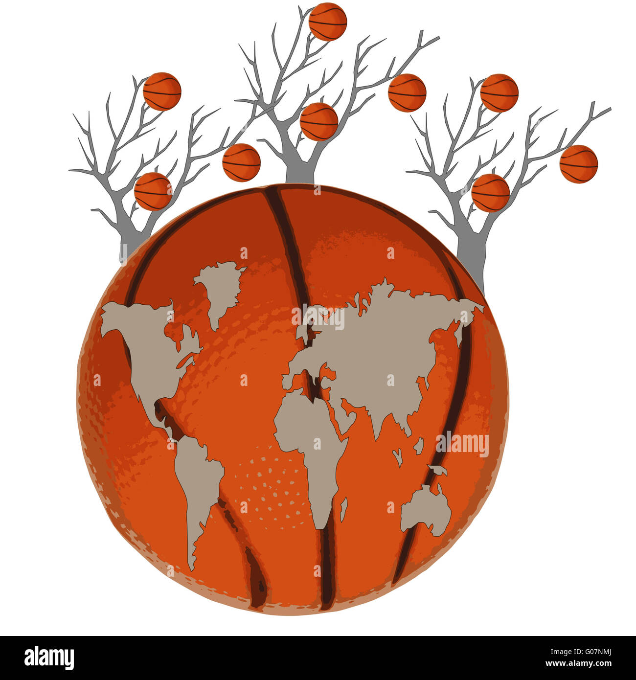 Map of the world is at a basketball ball and trees - Stock Image