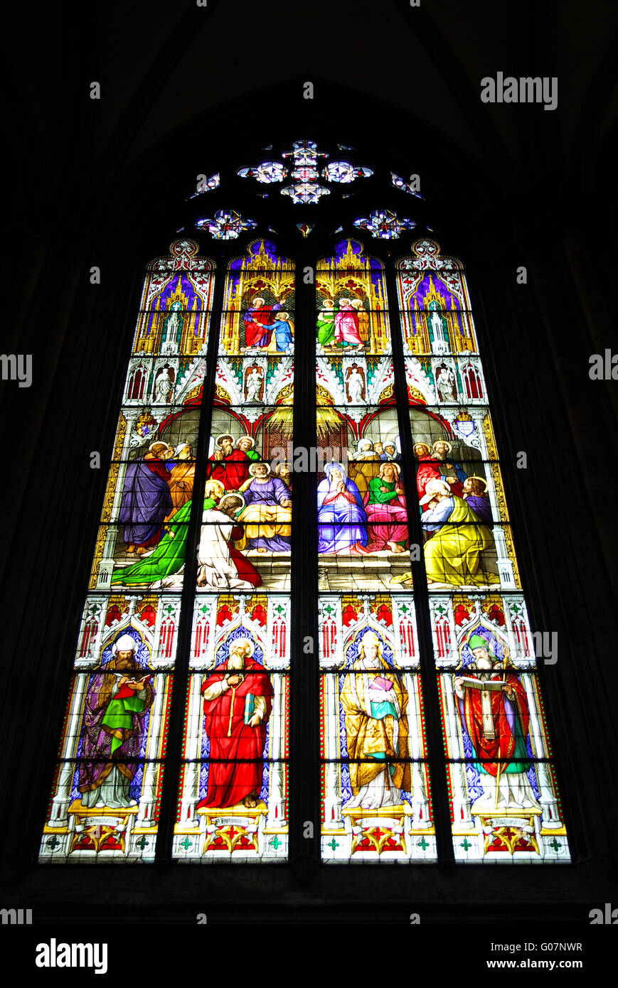 Pentecost, window in the Cathedral of Cologne - Stock Image